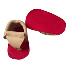 Baby Girls Cream Red Soft Sole Thong Strap Faux Leather Sandals 3-18M