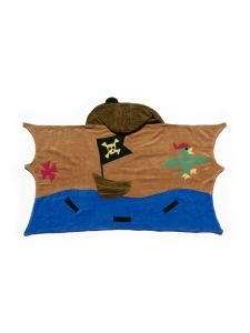 Kidorable Little Boys Brown Pirate Top Button Cotton Absorbent Hooded Towel M