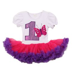 Baby Girls White Purple Number Butterfly Applique Birthday Tutu Dress 1 Year