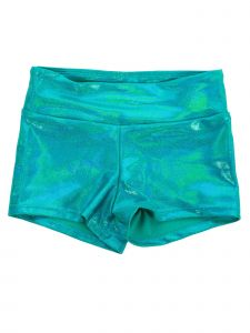 Veva By Very Vary Big Girls Opal Green Foil Twinkle Gymnastics Shorts 8-12
