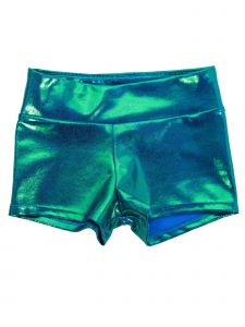 Veva By Very Vary Womens Ocean Blue Foil Twinkle Gymnastics Shorts XS-S