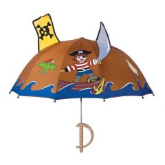 Kidorable Boys Brown Child Size Lightweight Pirate Umbrella