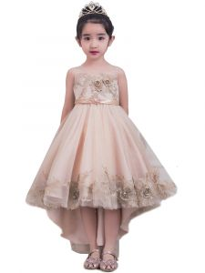 Girls Multi 3D Lace Appliques High Low Junior Bridesmaid Dress 2-12