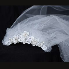 Kids Dream Girls Floral Rhinestone Pearls Satin Comb Veil Headpiece