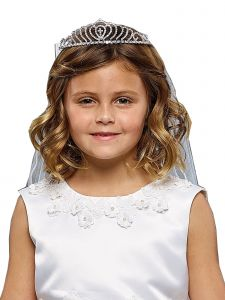Kids Dream Girls White Cross Accented Crown Elegant Communion Flower Girl Veil