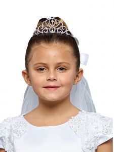 Kids Dream Girls White Sparkle Cross Crown Elegant Communion Flower Girl Veil