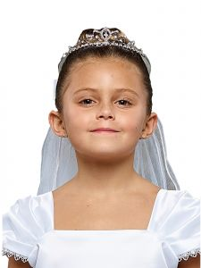 Kids Dream Girls White Rhinestone Cross Crown Elegant Communion Flower Girl Veil