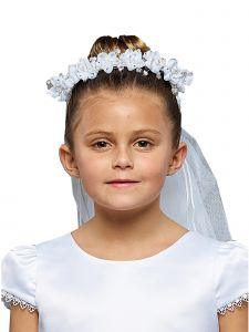 Kids Dream Girls White Flower Pearl Crown Stylish Communion Flower Girl Veil