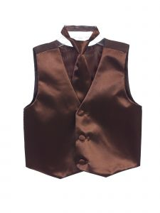Tip Top Kids Little Boys Brown Three Button Satin Vest Tie 2 Pc Set 2-6