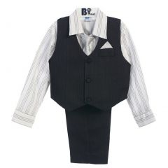B-One Four Piece Black Striped White Shirt Black Vest Baby Boys Set 18-24M
