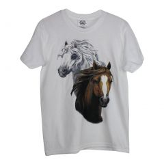 Big Girls White Brown Horse Print Short Sleeved Cotton T-Shirt YS-YXL