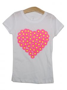 Girls White Floral Heart St. Valentine's Theme Detail Cotton T-Shirt 6-16