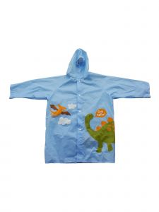 Rainstoppers Little Boys Blue Dinosaur Print Pouch Waterproof Raincoat 3-7