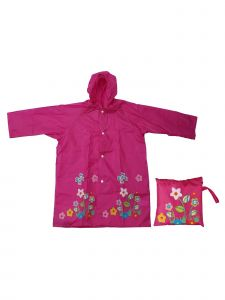 Rainstoppers Girls Pink Flower Butterfly Print Pouch Waterproof Raincoat 3-7