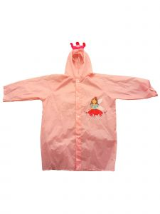 Rainstoppers Girls Pink Princess Print Pouch Waterproof Raincoat 3-7