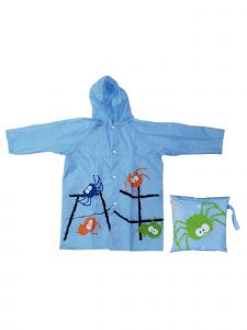 Rainstoppers Little Boys Blue Spider Print Pouch Waterproof Raincoat 3-7