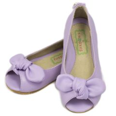 Foxpaws Little Girls Lilac Orchid Bow Open Toe Flats Shoes 11-13 Kids
