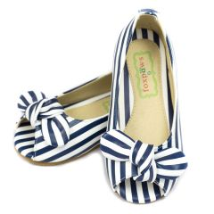 Foxpaws Little Girls Blue White Stripe Bow Open Toe Flats Shoes 6-10 Toddler