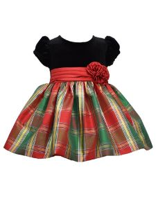 Bonnie Jean Baby Girls Red Stretch Velvet Top Plaid Skirt Christmas Dress 3-9M