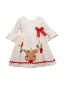 Bonnie Jean Baby Girls Ivory Reindeer Applique Bell Sleeve Christmas Dress 3-24M