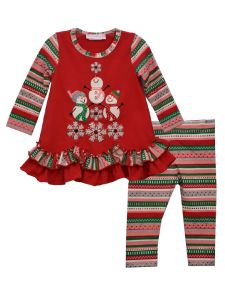 Bonnie Jean Little Girls Red Snowmen Tree Legging Christmas Outfit 2T-6X