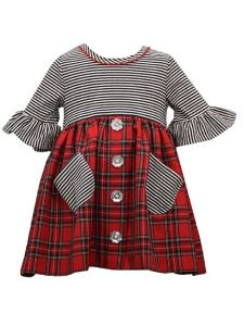 Bonnie Jean Little Girls Red Striped Top Plaid Skirt Christmas Dress 2T-6X