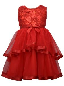 Bonnie Jean Little Girls Red Sequin Top Ribbon Mesh Skirt Christmas Dress 4-6X