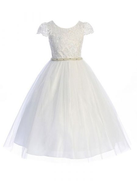 Big Girls White Lace Cap Sleeve Tulle Junior Bridesmaid Communion Dress 8-20