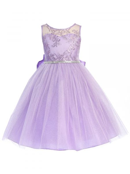 Girls Multi Color Sequin Lace Crystal Belt Junior Bridesmaid Dress 2-14