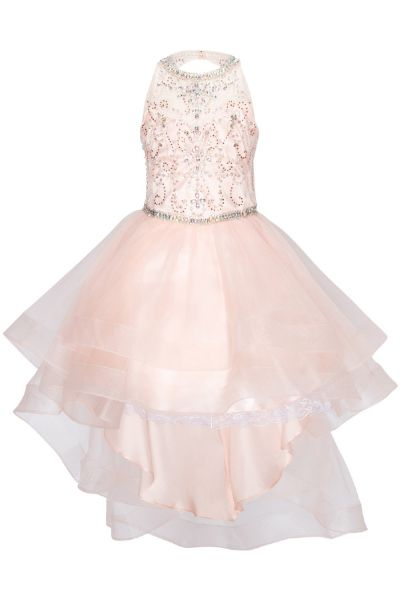 Cinderella Couture Girls Multi Color Crystal Pearl Halter Pageant Dress 4-16