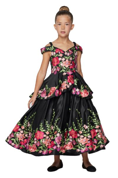 Cinderella Couture Big Girls Black Floral Embroidery Ball Gown 8-16
