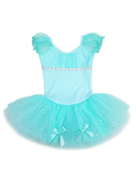 Wenchoice Girls Teal Rhinestone Silver Trim Bow Ballet Dress 24M-6