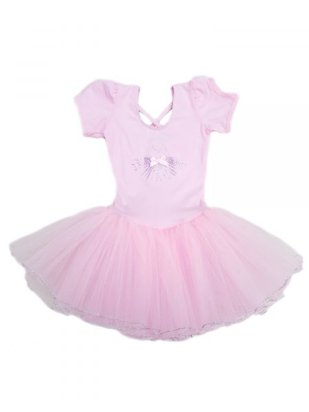 Wenchoice Girls Pink Rhinestone Dress Silver Trim Ballet Dress 24M-6