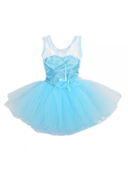 Wenchoice Girls Baby Blue Sequins Lace Silver Trim Ballet Dress 24M-6