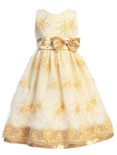Shanil Girls Multi Color Floral Lace Satin Bow Junior Bridesmaid Dress 2-10