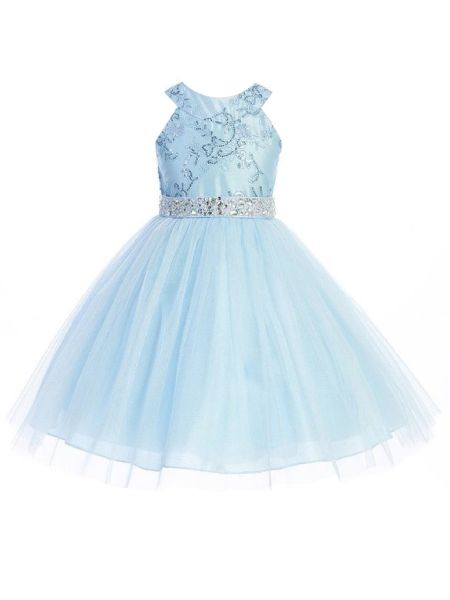 Girls Multi Color Crystal Embroidered Halter Neck Junior Bridesmaid Dress 2-14