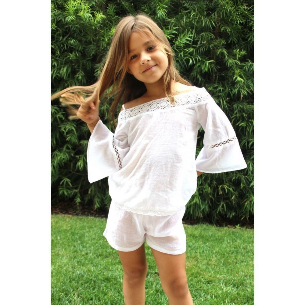 Azul Big Girls White Peasant Look Short Sleeve Lace Top 4-14