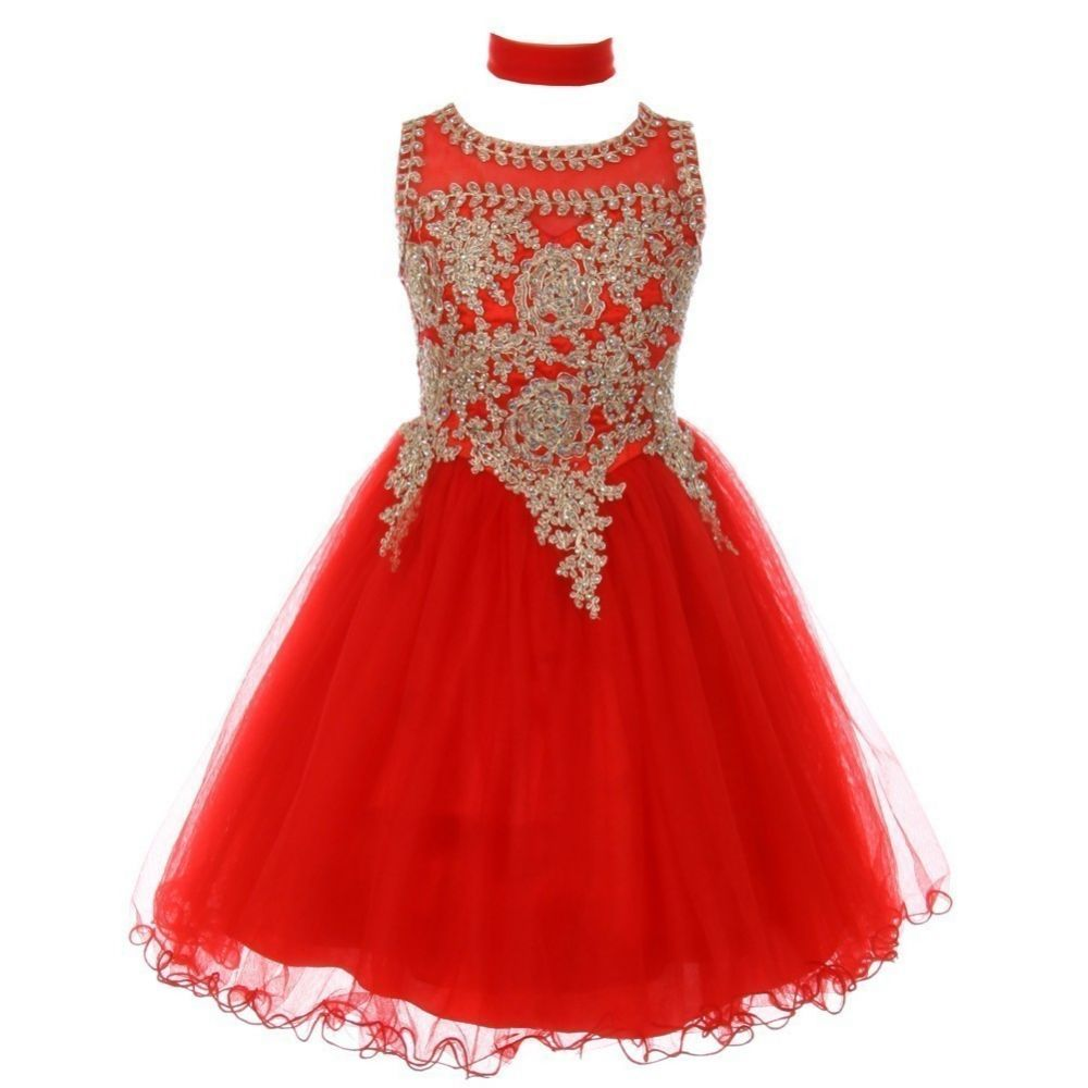Big Girls Red Gold Trim Wire Tulle