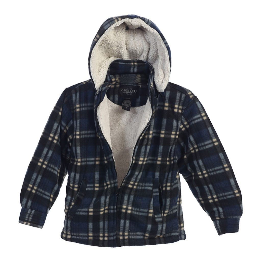 Removable Hood Gioberti Boys Flannel Jacket with Sherpa Lining