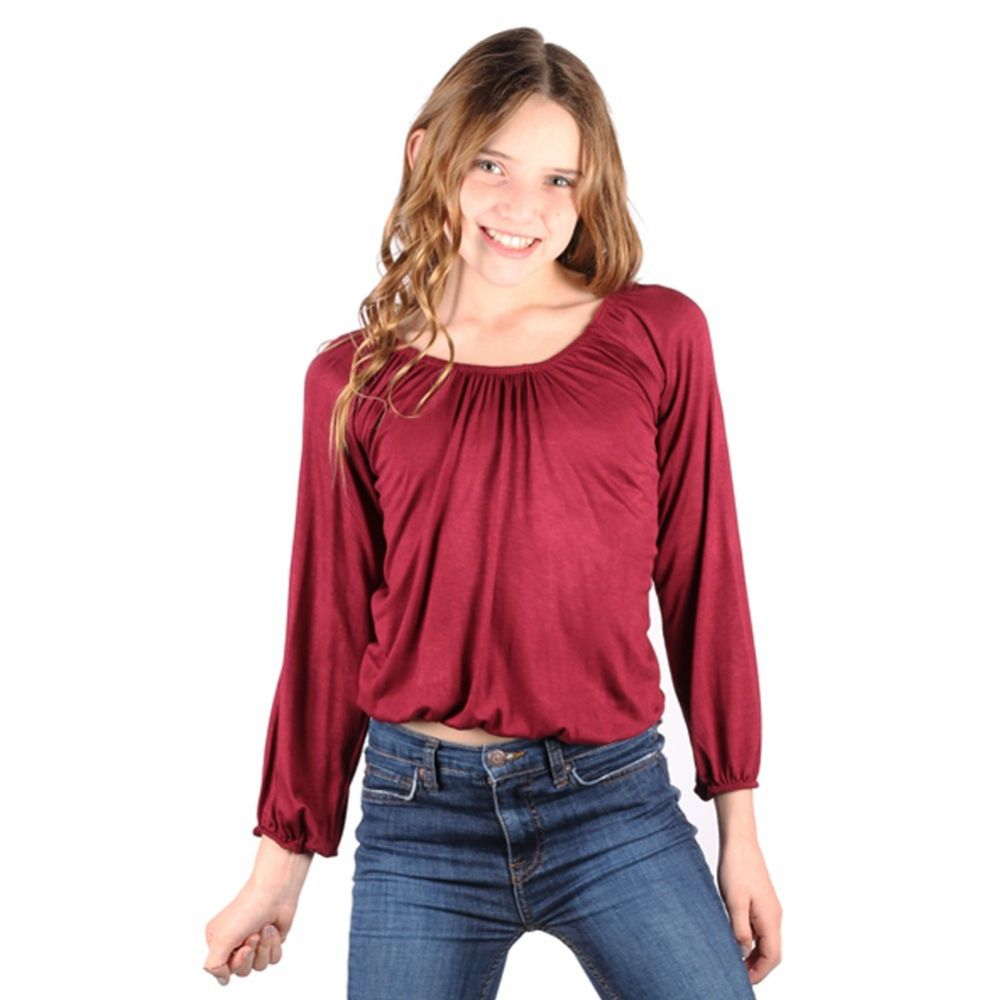 Lori/&Jane Big Girls Burgundy Long Sleeves Solid Color Gathered Top 6-14