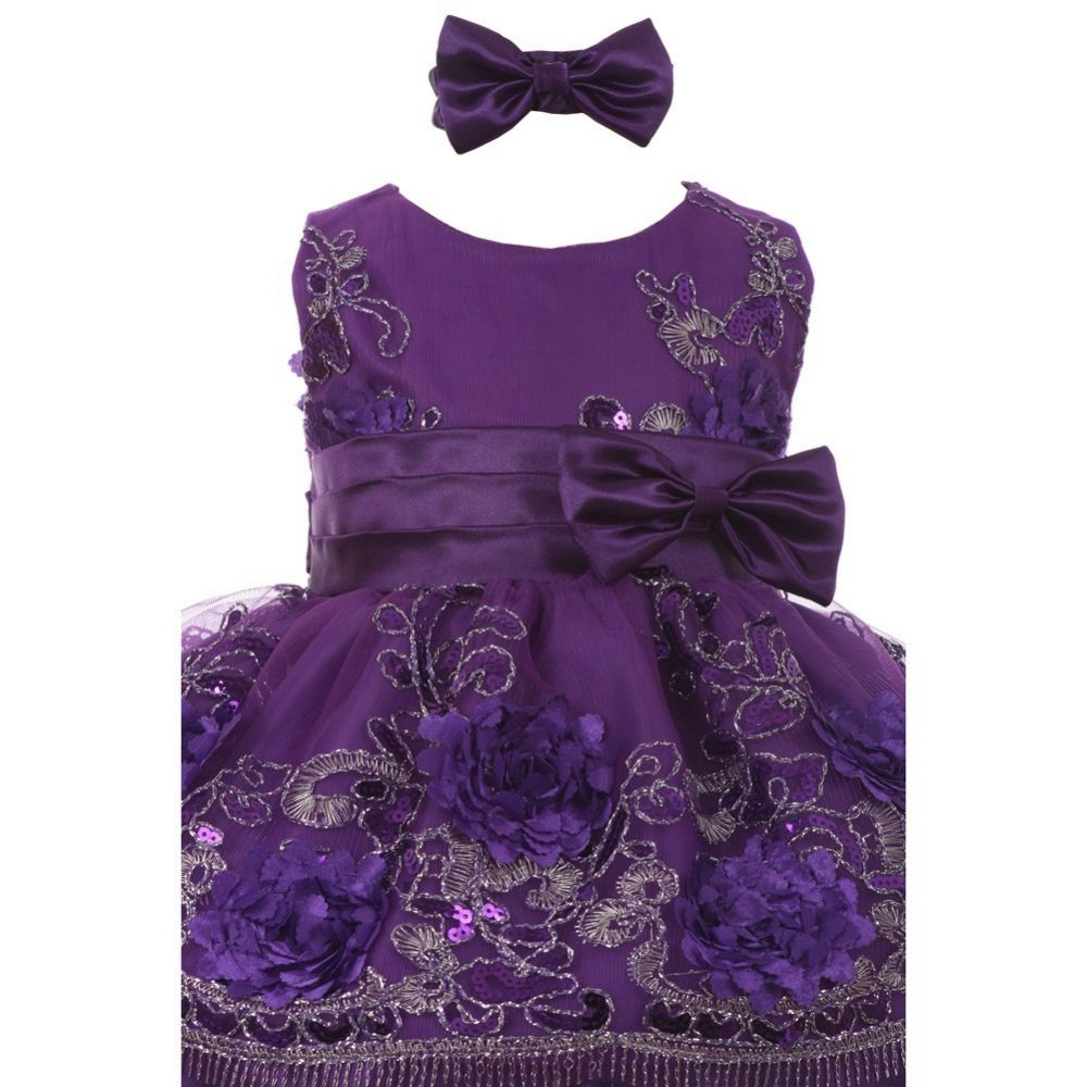 Baby Floral Sequin Embroidered Dress with Headband Style #SS3006C