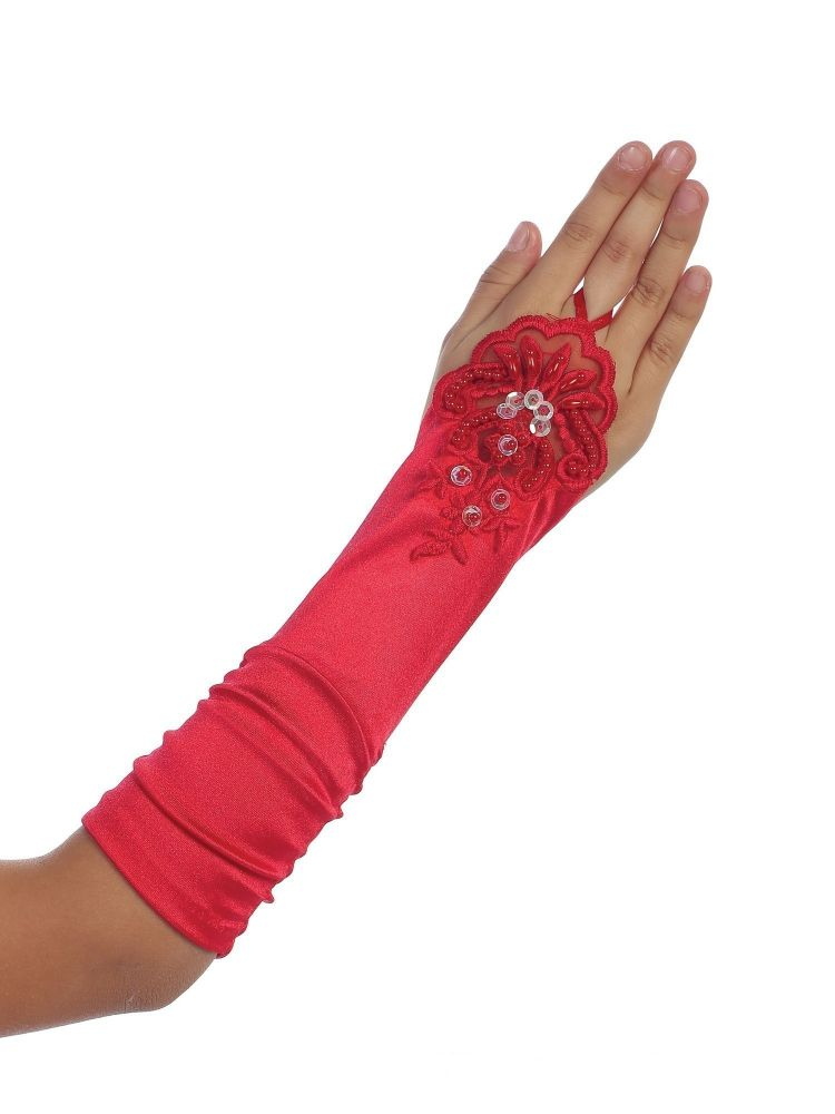 kids Special Occasion Gloves Girls Red Floral Embroidery Fingerless Long Special Occasion Gloves 4-14