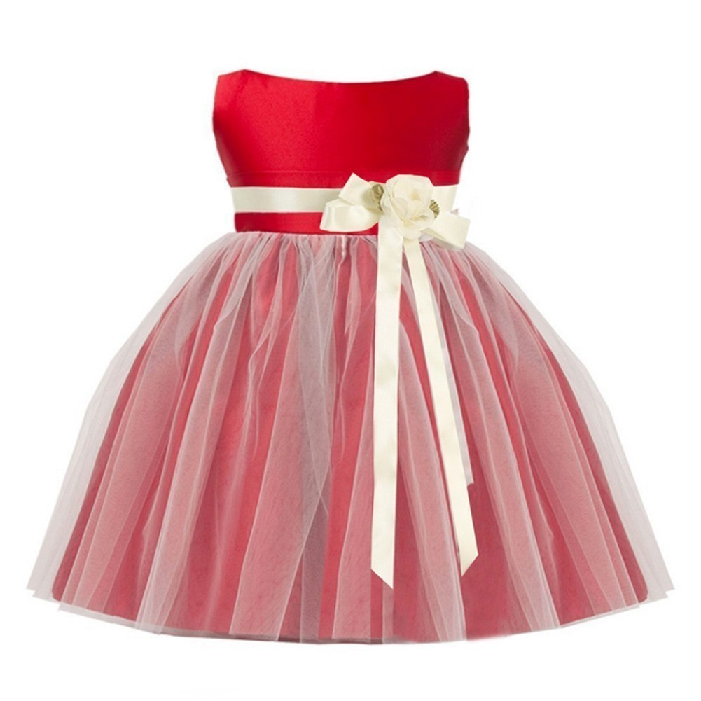 07a2b9221a6 Sweet Kids Baby Girls Red Ivory Floral Accent Flower Girl Dress 6-24M -  Sophia s Style