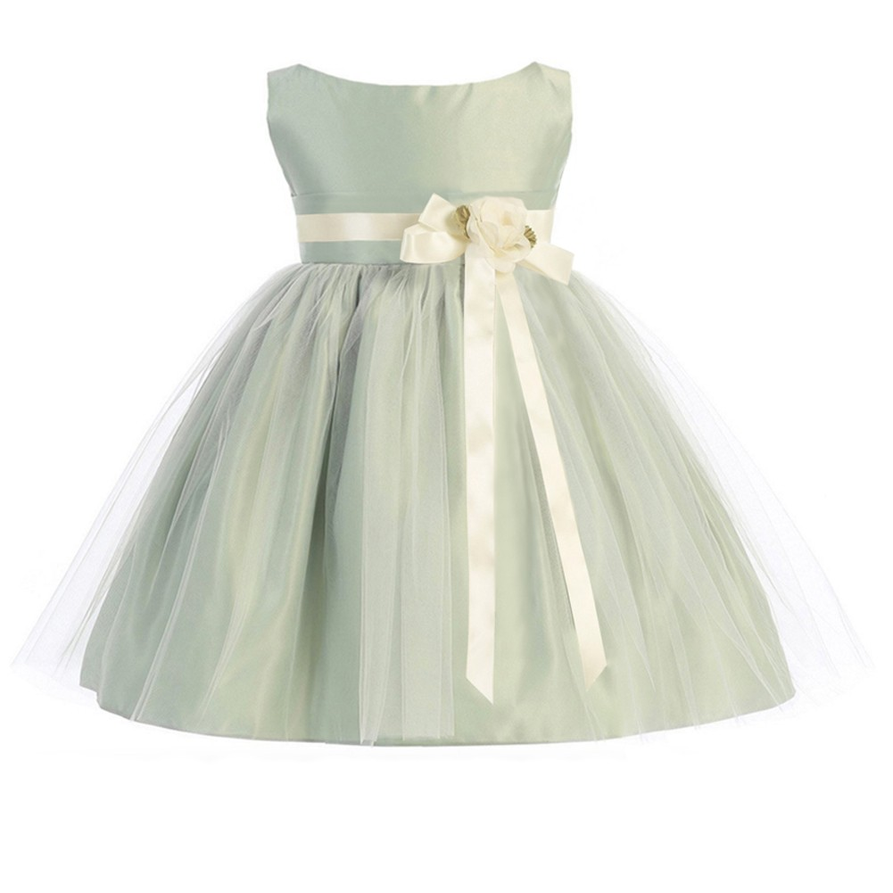 20c191011d Sweet Kids Baby Girls Sage Ivory Floral Accent Flower Girl Dress 6-24M -  Sophia's Style